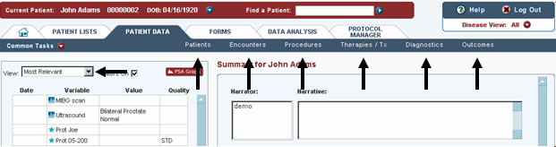 The Patient Data tab